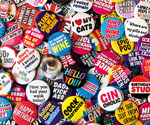 Funny rude badges by Dean Morris Cards