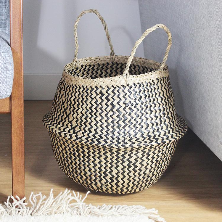 Folding Black Patterned Seagrass Storage Belly Basket