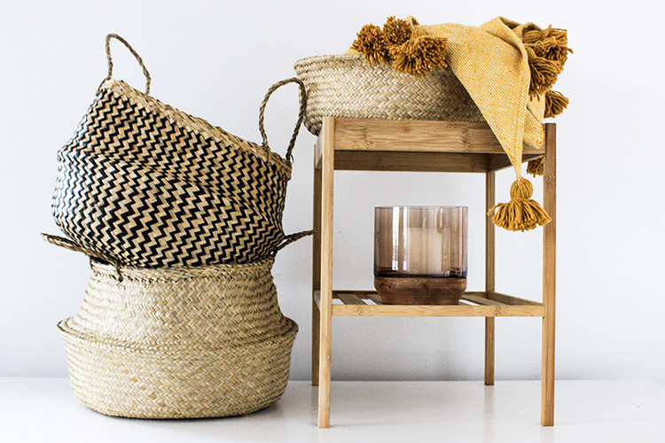 Handcrafted Seagrass Storage Baskets And Moroccan Throw