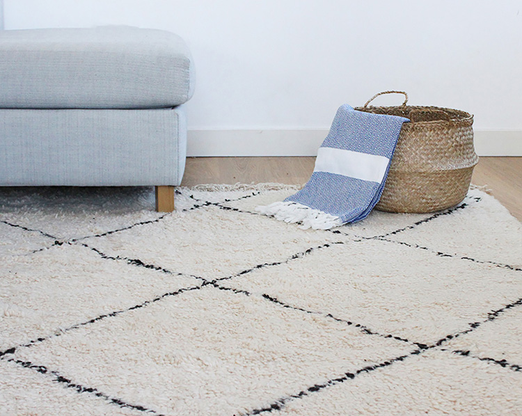 Berber Rug, Seagrass Basket And Organic Hammam Towel