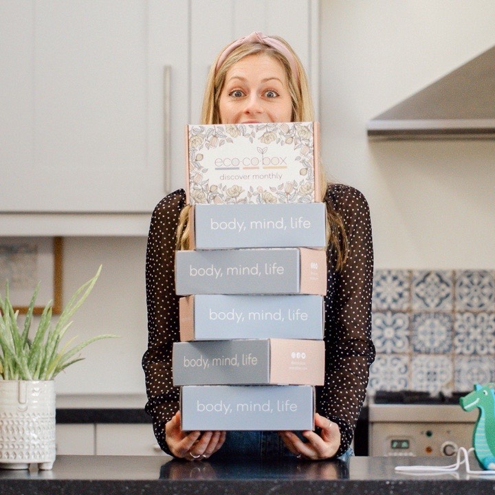 Mum with 6 boxes of annual gift subscription