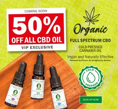 50% Off CBD Oil - Organic, Vegan and highly effective